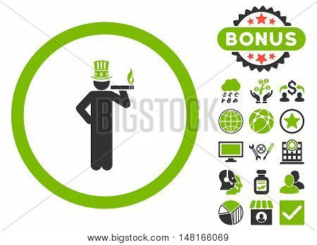 American Capitalist icon with bonus elements. Vector illustration style is flat iconic bicolor symbols, eco green and gray colors, white background.