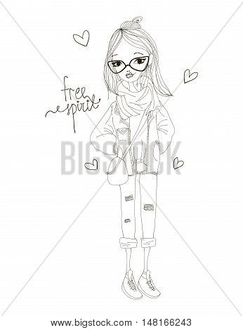 Free Spirit Fashion Illustration with a Fashion Girl Wearing Stylish Clothes. Black and White Free Spirit Typography with Hearts