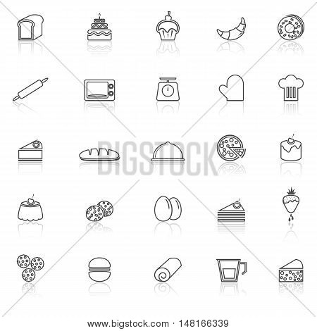Bakery line icons with reflect on white background, stock vector