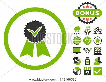 Approvement Seal icon with bonus pictures. Vector illustration style is flat iconic bicolor symbols, eco green and gray colors, white background.