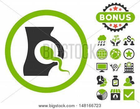Artificial Insemination icon with bonus design elements. Vector illustration style is flat iconic bicolor symbols, eco green and gray colors, white background.