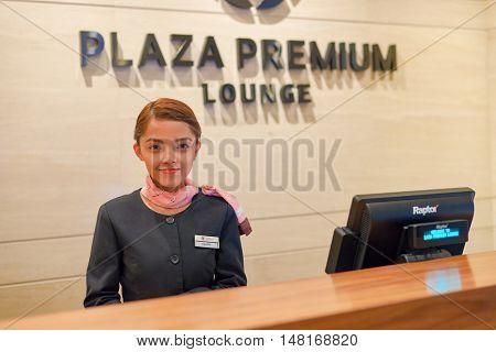 SINGAPORE - CIRCA SEPTEMBER, 2016: Plaza Premium Lounge at Singapore Changi Airport. Changi Airport is the primary civilian airport for Singapore.