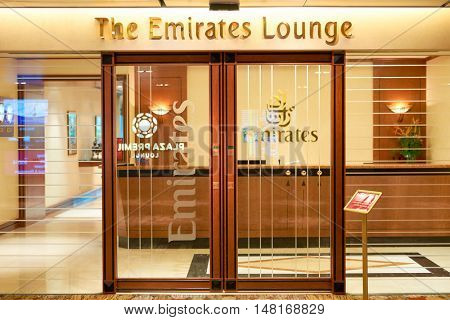 SINGAPORE - CIRCA SEPTEMBER, 2016: The Emirates Lounge in Changi Aiport. Changi Airport is the primary civilian airport for Singapore.