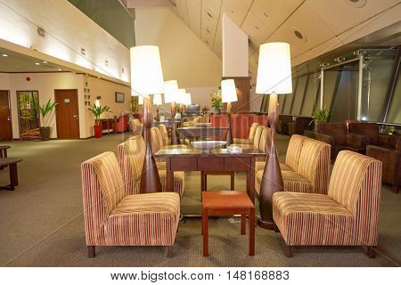 SINGAPORE - CIRCA AUGUST, 2016: interior of Ambassador Transit Lounge at Singapore Changi Airport in Terminal 2. Changi Airport is the primary civilian airport for Singapore.