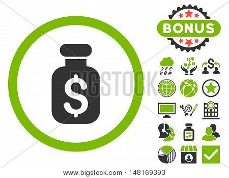 Business Remedy icon with bonus images. Vector illustration style is flat iconic bicolor symbols, eco green and gray colors, white background.