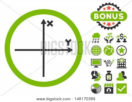 Cartesian Axis icon with bonus symbols. Vector illustration style is flat iconic bicolor symbols, eco green and gray colors, white background.