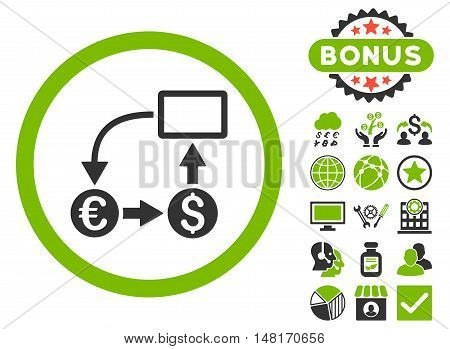 Cashflow Euro Exchange icon with bonus elements. Vector illustration style is flat iconic bicolor symbols, eco green and gray colors, white background.
