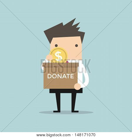 Businessman putting coin in the donation box. Vector