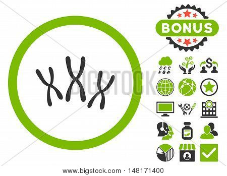 Chromosomes icon with bonus symbols. Vector illustration style is flat iconic bicolor symbols, eco green and gray colors, white background.