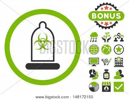 Condom Biohazard icon with bonus design elements. Vector illustration style is flat iconic bicolor symbols, eco green and gray colors, white background.