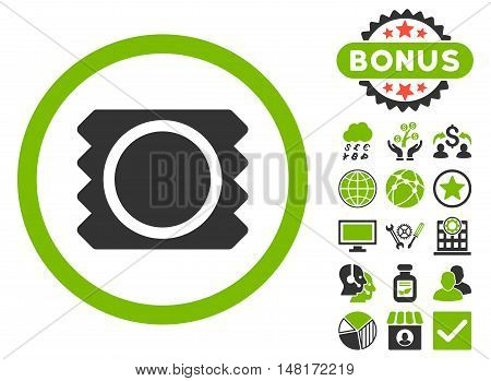 Condom icon with bonus design elements. Vector illustration style is flat iconic bicolor symbols, eco green and gray colors, white background.