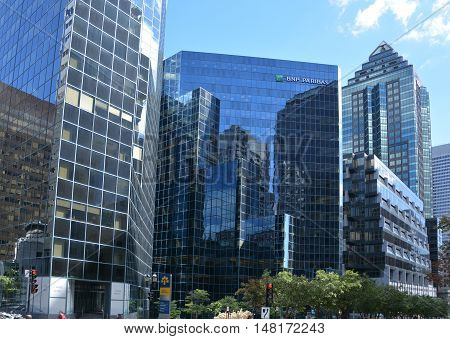 MONTREAL QUEBEC CANADA 09 15 2016: 1981 McGill College is an 82 m (269 ft), 20-storey office complex in Montreal, Quebec, Canada. The building was designed by WZMH Architects