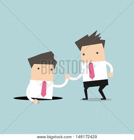 Businessman helping his friend by take him out from the hole. vector