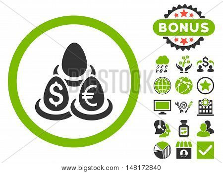 Currency Deposit Diversification icon with bonus pictures. Vector illustration style is flat iconic bicolor symbols, eco green and gray colors, white background.