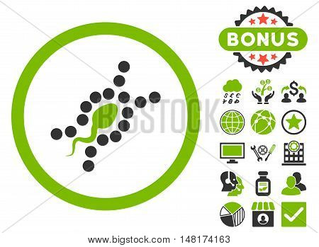 DNA Replication icon with bonus images. Vector illustration style is flat iconic bicolor symbols, eco green and gray colors, white background.