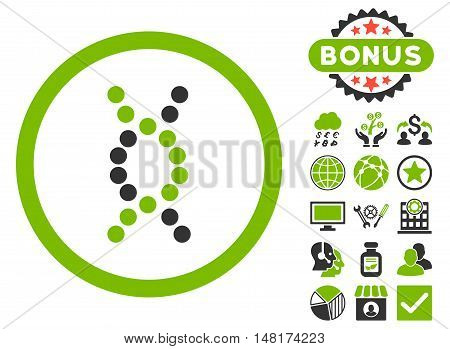 DNA Spiral icon with bonus pictures. Vector illustration style is flat iconic bicolor symbols, eco green and gray colors, white background.
