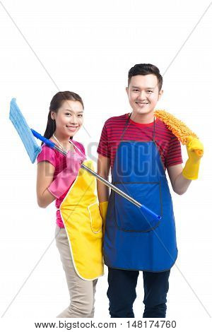Domestic housekeeping service team. Home cleaning asian people.