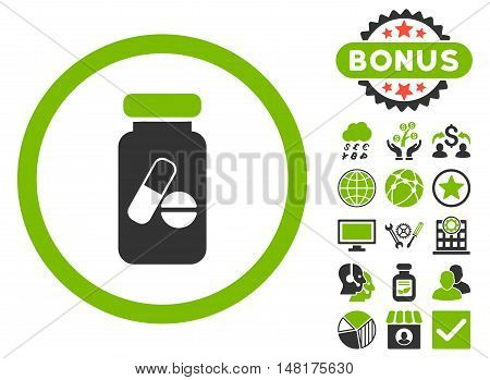Drugs Phial icon with bonus pictogram. Vector illustration style is flat iconic bicolor symbols, eco green and gray colors, white background.