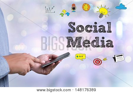 Social Media Communication Sharing Network Man Use Social Media