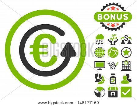 Euro Chargeback icon with bonus pictogram. Vector illustration style is flat iconic bicolor symbols, eco green and gray colors, white background.