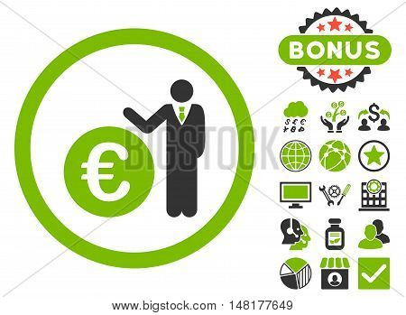 Euro Economist icon with bonus elements. Vector illustration style is flat iconic bicolor symbols, eco green and gray colors, white background.