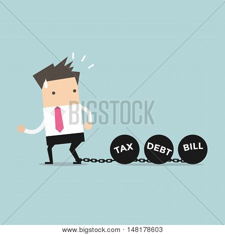 Businessman dragging chains and big ball, Debt Tax and Bill burden concept. vector
