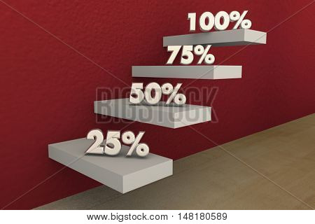 100 Percent Full Top Score Perfect Result Steps 3d Illustration