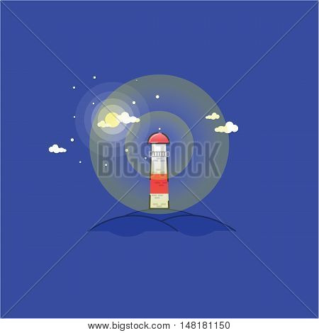 Vector of lighthouse in the hills outline