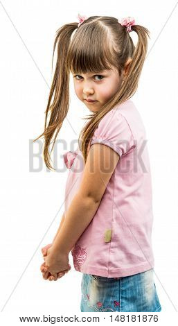 portrait of a little offended girl on a white background