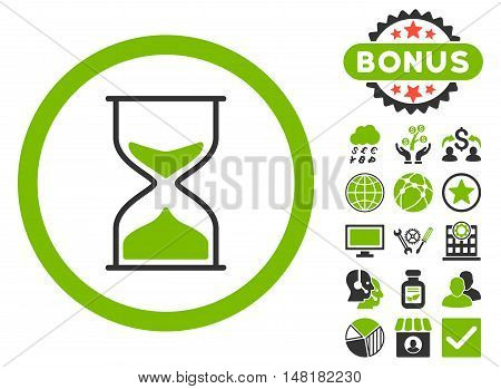 Hourglass icon with bonus pictogram. Vector illustration style is flat iconic bicolor symbols, eco green and gray colors, white background.