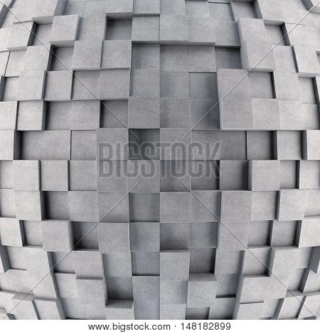 Convex concrete 3d cube wall. 3D rendering