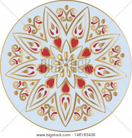 Drawing of a floral mandala in gold, red and blue colors on a white background. Hand drawn tribal  vector stock illustration