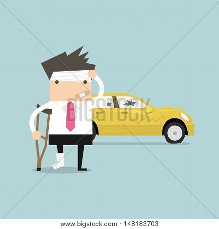 Businessman be injured with car accident vector