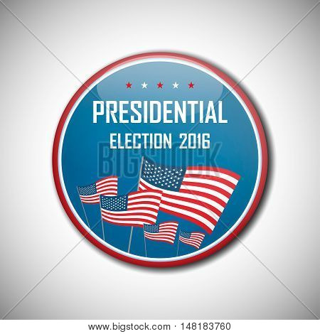 Usa Presidential Election Campaign Badge Button.