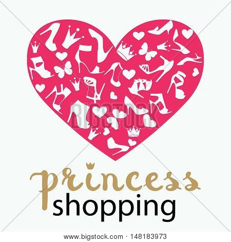 The heart is made from high-heeled shoes, crowns, butterflies in black, white, golden beige and purple magenta color. With calligraphy hand drawn design element. Handwritten brush lettering.