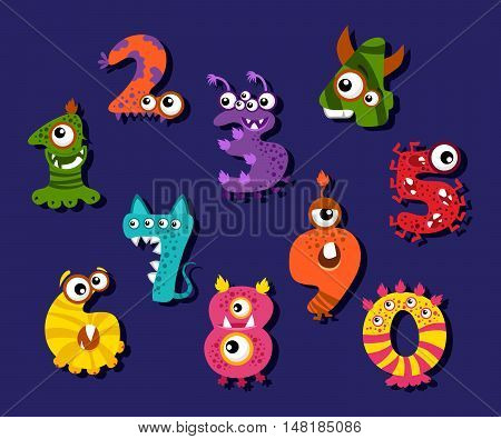 Cartoon funny numbers or comic digits vector set. Creature monsters digits and illustration of mathematical fantastic digits