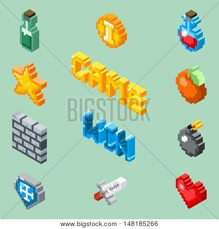 Pixel art game icons. 8 bit isometric pictograms vector. Element for game in pixel style design, illustration star and pixel art bomb