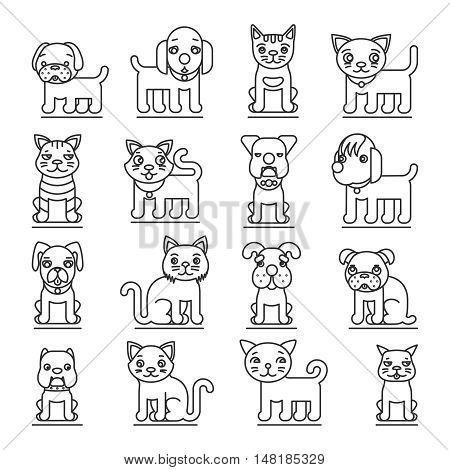 Pets line icons. Dogs and cats outline signs vector. Set of animal cat and dog, illustration pets dog and domestic cat