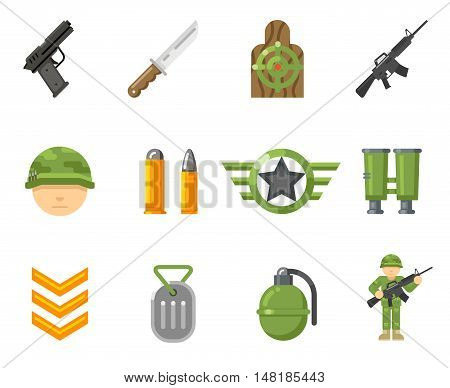 War game flat icons, or army and weapon signs vector. Set of weapon for game war, illustration military automatic weapon and pistol for web game