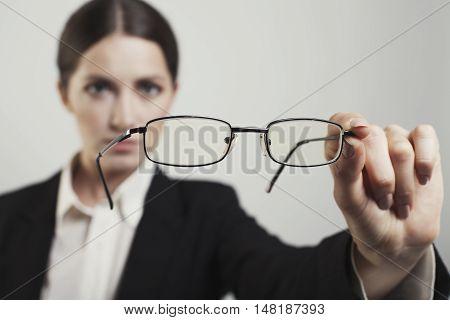 woman blurred seen correctly glasses photo studio