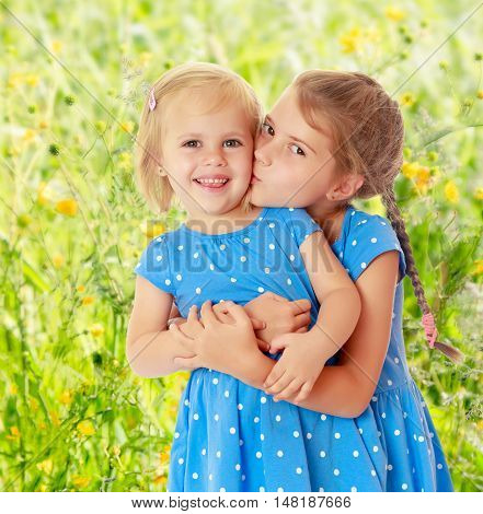 Two charming little girls, sisters , in identical blue dresses with polka dots. Older sister kissing the younger on the cheek.On the background of green grass. The concept of a family holiday.