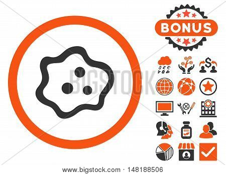 Amoeba icon with bonus images. Vector illustration style is flat iconic bicolor symbols, orange and gray colors, white background.