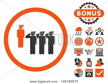 Army Squad icon with bonus symbols. Vector illustration style is flat iconic bicolor symbols, orange and gray colors, white background.