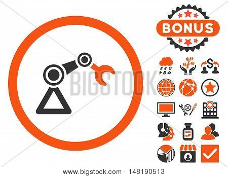 Artificial Manipulator icon with bonus images. Vector illustration style is flat iconic bicolor symbols, orange and gray colors, white background.