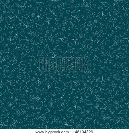 International Day of Peace Seamless Pattern Background. Peace Silhouette Sign.