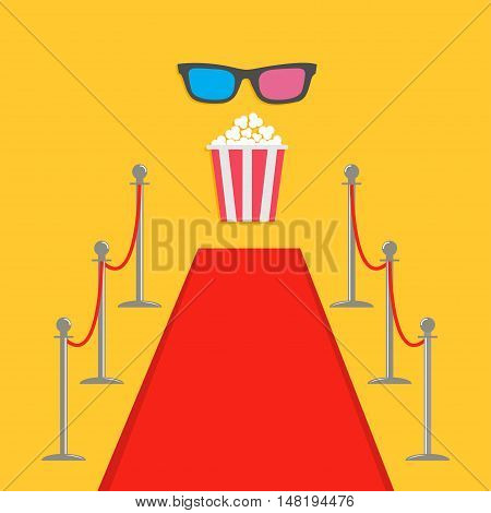 Red carpet and rope barrier golden stanchions turnstile Popcorn box. 3D glasses. Isolated template Yellow background. Flat design Vector illustration