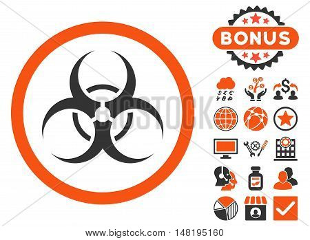 Biohazard Symbol icon with bonus pictures. Vector illustration style is flat iconic bicolor symbols, orange and gray colors, white background.