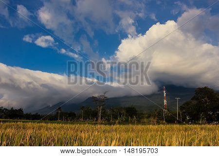 Ciremai mountain landscape, the picture is taken from a paddy field of location Linggarjati Kuningan, West Java. Date: 23 Agusutus 2016