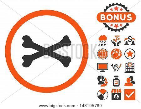 Bones Cross icon with bonus pictogram. Vector illustration style is flat iconic bicolor symbols, orange and gray colors, white background.