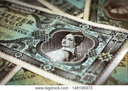 Old Hungarian lakh pengo money close up